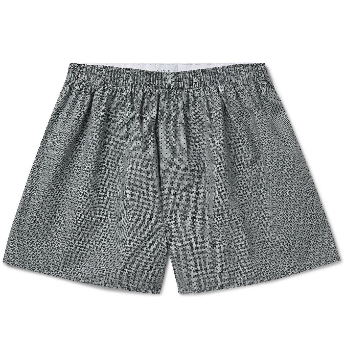 Photo: Sunspel - Printed Cotton Boxer Shorts - Gray
