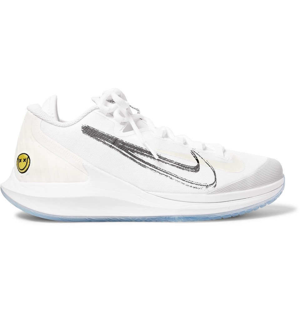 Photo: Nike Tennis - NikeCourt Air Zoom Zero HC Rubber-Panelled Mesh Tennis Sneakers - White
