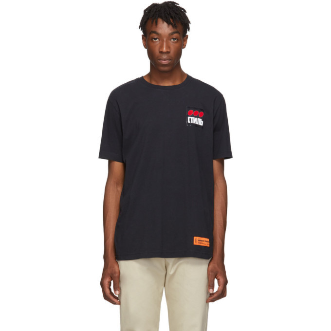 Photo: Heron Preston Black Style Dots Regular T-Shirt