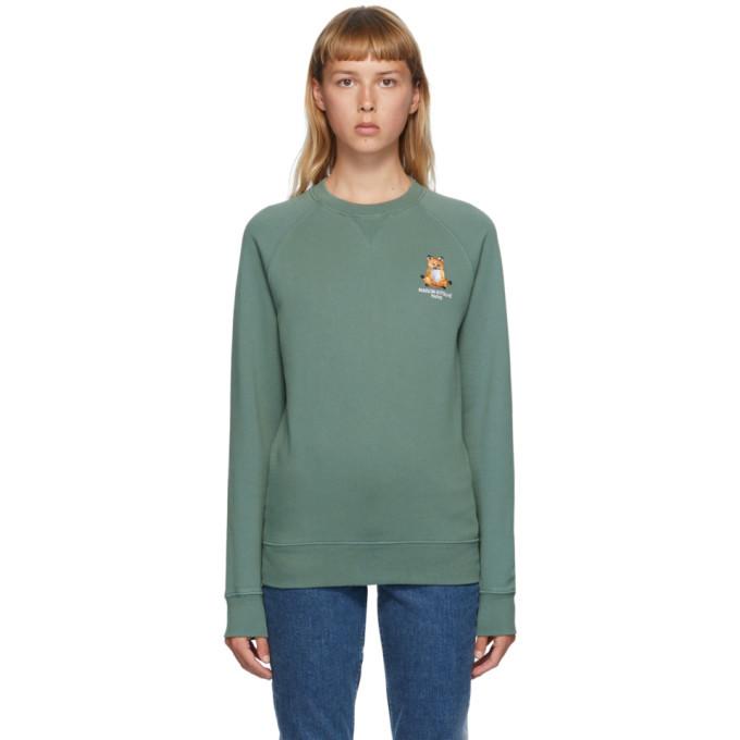 Photo: Maison Kitsune Green Lotus Fox Sweatshirt
