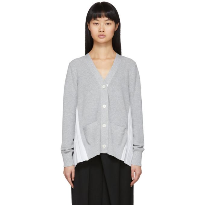 Sacai Grey Knit Pleats Cardigan