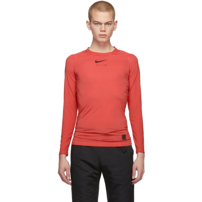 Photo: 1017 ALYX 9SM Red Nike Edition Long Sleeve T-Shirt