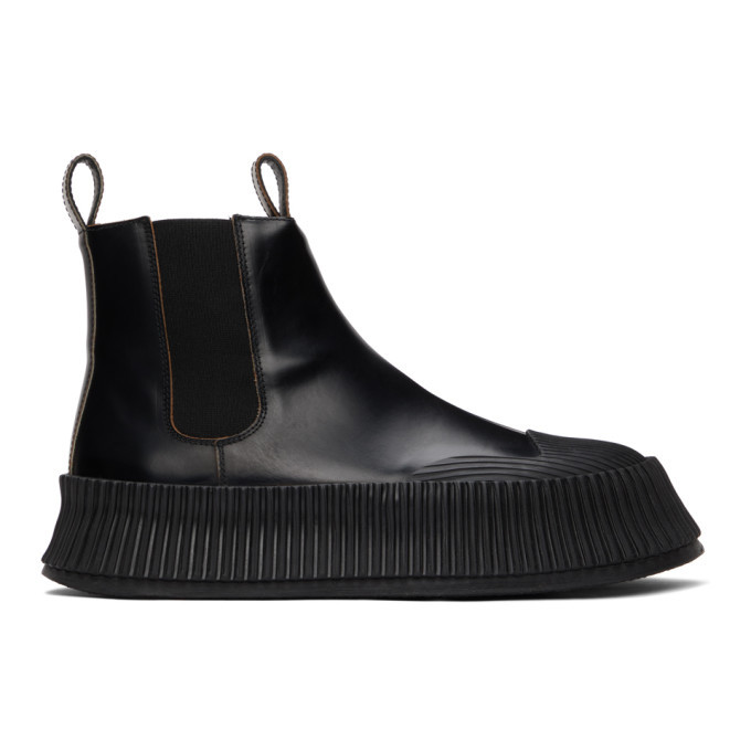 Photo: Jil Sander Black Vulcanised Chelsea Boots