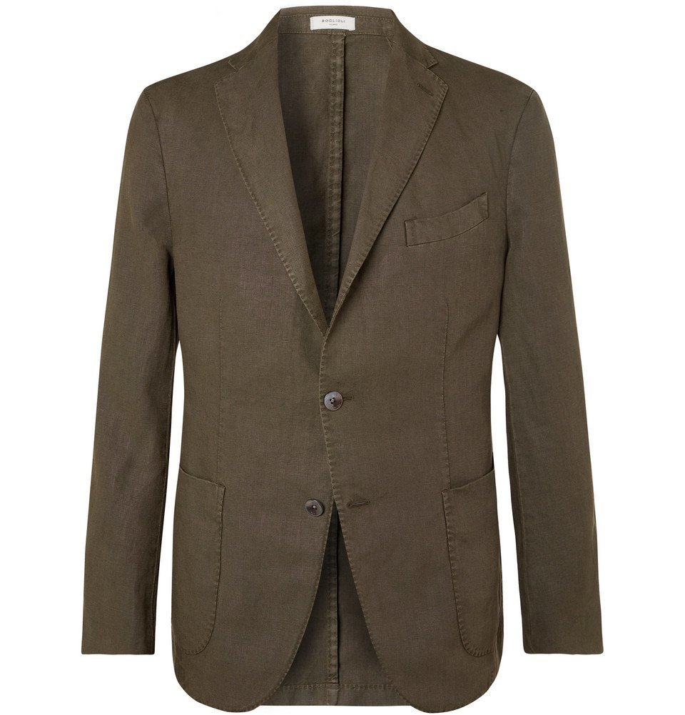 Photo: Boglioli - Green K-Jacket Slim-Fit Unstructured Linen Suit Jacket - Green