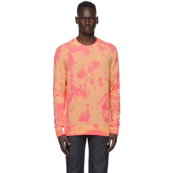 Photo: The Elder Statesman SSENSE Exclusive Pink and Orange Tranquility Crewneck Sweater