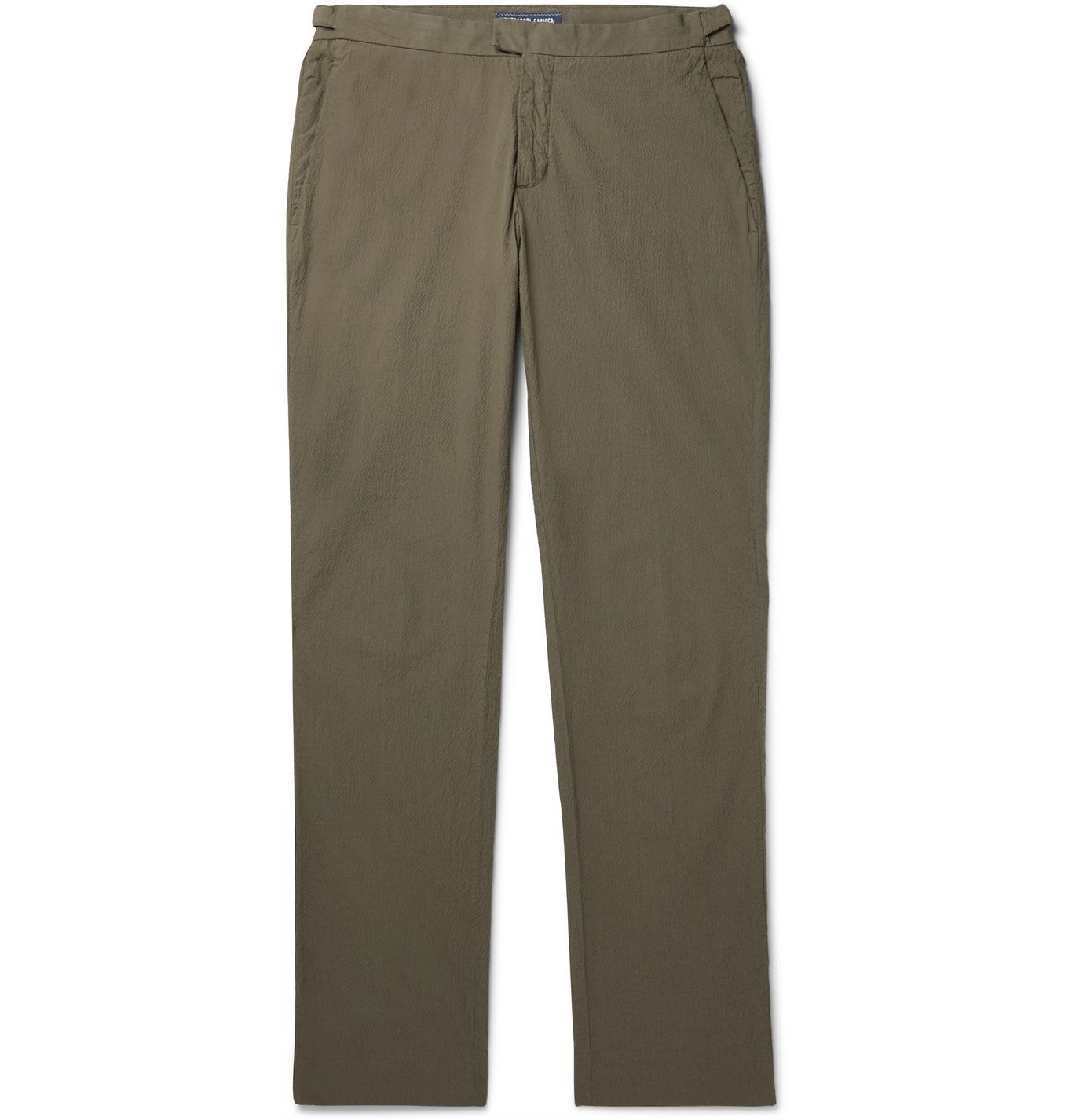 Photo: Frescobol Carioca - Johannes Huebl Slim-Fit Cotton-Blend Seersucker Suit Trousers - Green