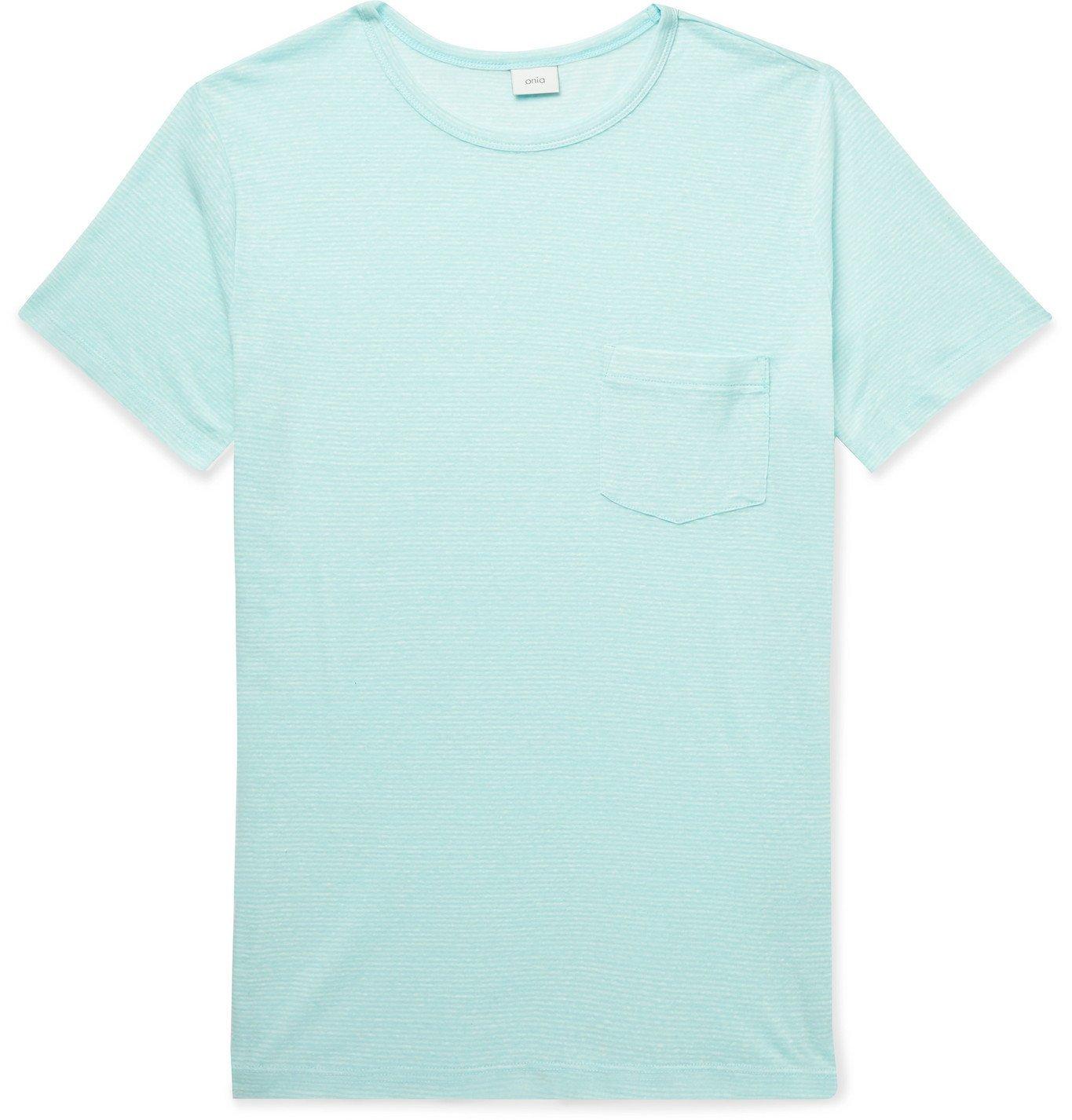 Photo: Onia - Chad Striped Linen-Blend T-Shirt - Blue