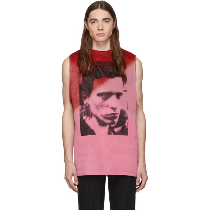 Raf Simons Pink and Red Multilayered T-Shirt
