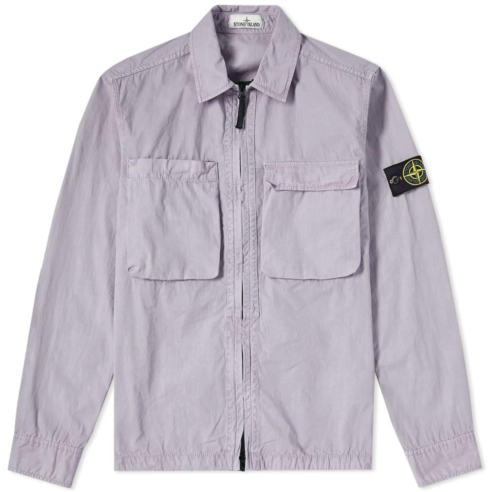 Photo: Stone Island Tela Smerigliata Garment Dyed Zip Overshirt