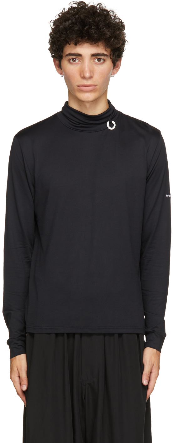 Raf Simons Black Fred Perry Edition Laurel Wreath Detail Roll Neck Pullover