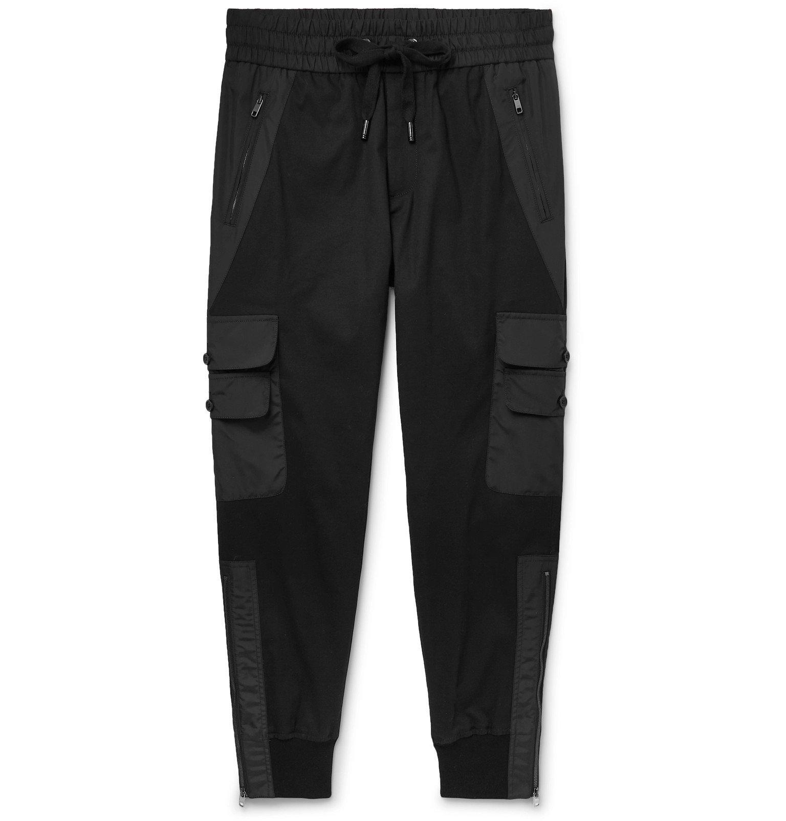 Photo: Dolce & Gabbana - Black Tapered Gabardine Panelled Cotton-Blend Twill Drawstring Trousers - Black