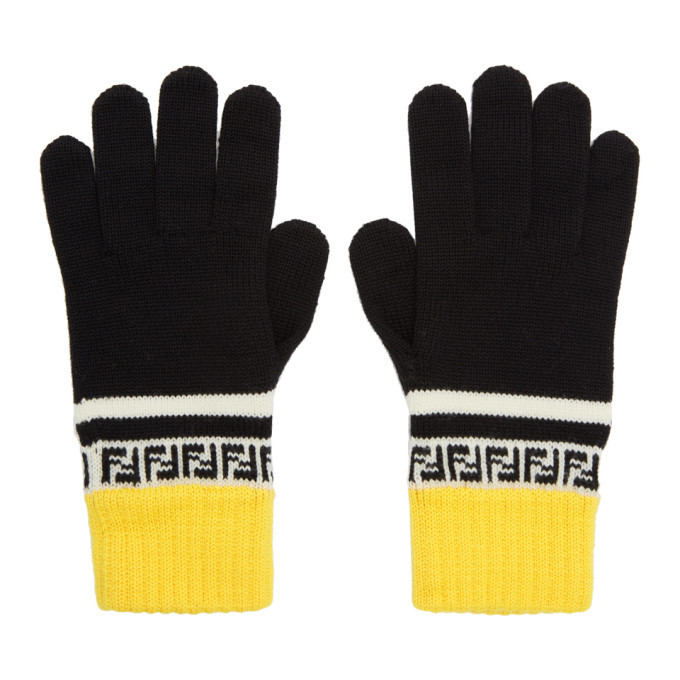 Photo: Fendi Black and Yellow Wool Forever Fendi Gloves