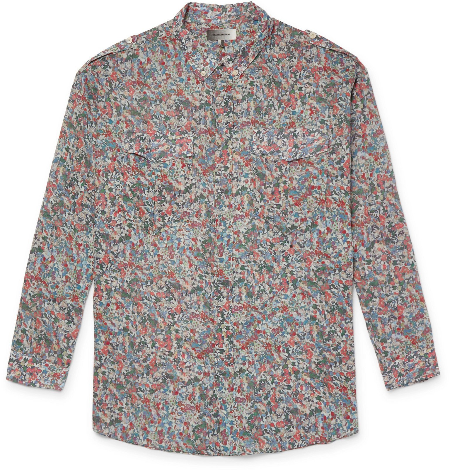 Photo: Isabel Marant - Neton Button-Down Collar Printed Cotton Shirt - Multi