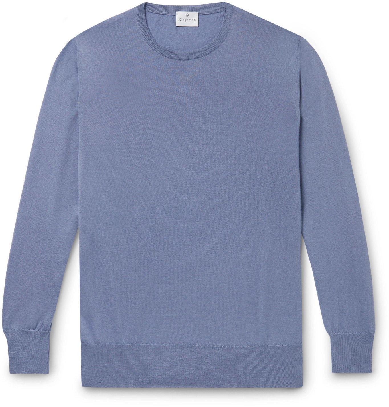Photo: Kingsman - Mélange Cashmere Sweater - Blue