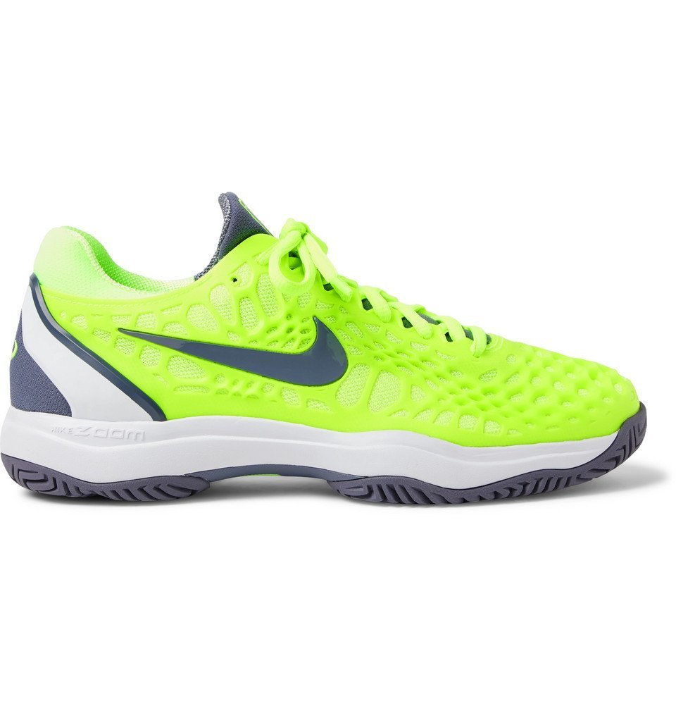 Photo: Nike Tennis - Air Zoom Cage 3 HC Rubber And Mesh Tennis Sneakers - Bright green