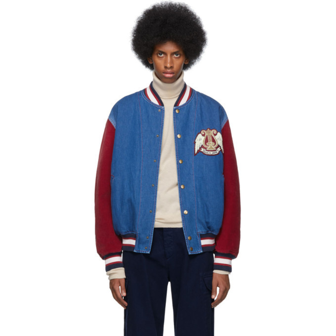 Photo: Gucci Blue and Red Denim Bomber Jacket