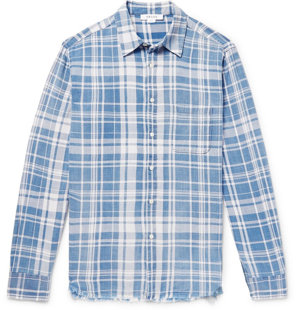 Photo: FRAME - Distressed Checked Cotton-Flannel Shirt - Blue