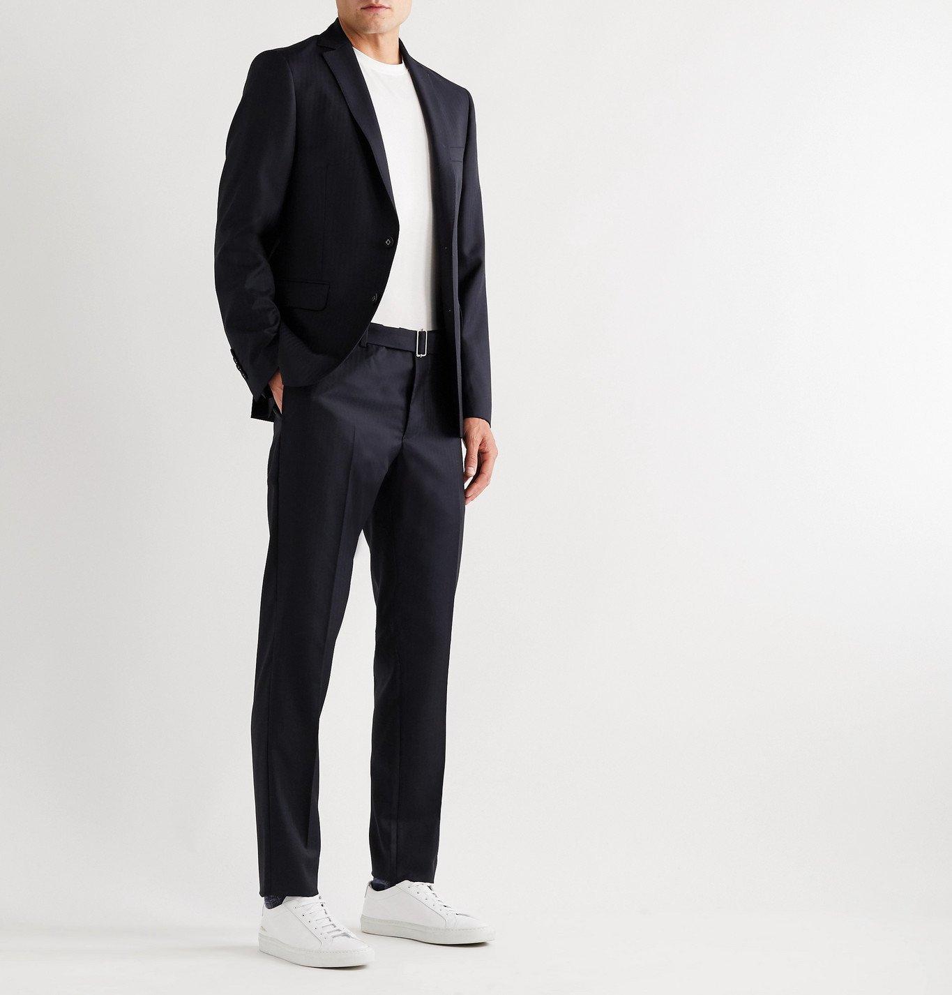 Officine Generale - Paul Herringbone Wool Suit Trousers - Blue