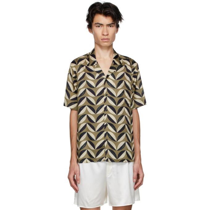 Photo: COMMAS Green and Black Silk Pavilion Tile Short Sleeve Shirt
