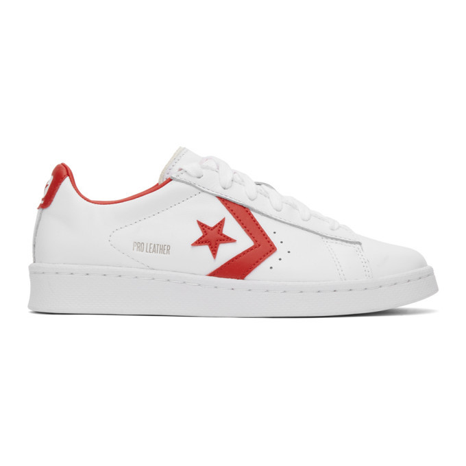 Photo: Converse White and Red Leather Pro OG Sneakers