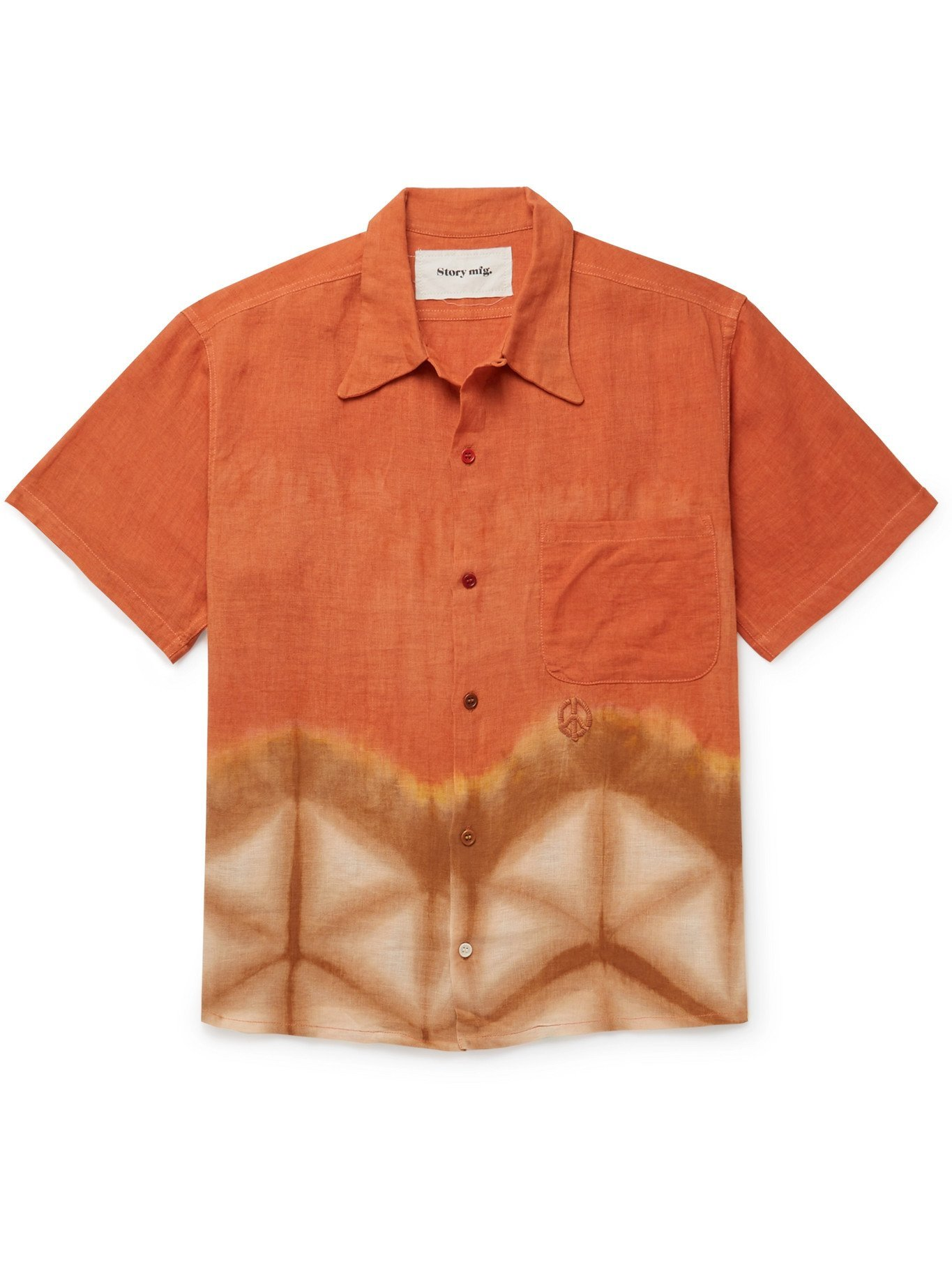 Photo: STORY MFG. - Shore Embroidered Tie-Dyed Organic Linen Shirt - Orange - M