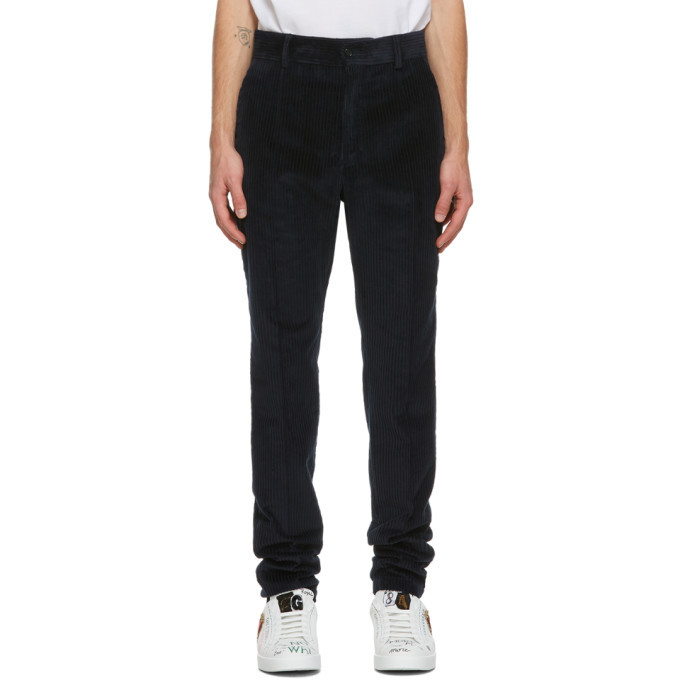 Photo: Dolce and Gabbana Blue Corduroy Trousers