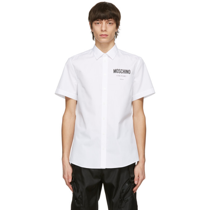 Photo: Moschino White Poplin Logo Short Sleeve Shirt