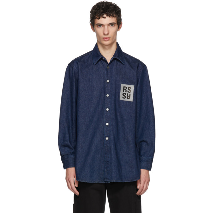 Photo: Raf Simons Navy Denim Logo Patch Shirt