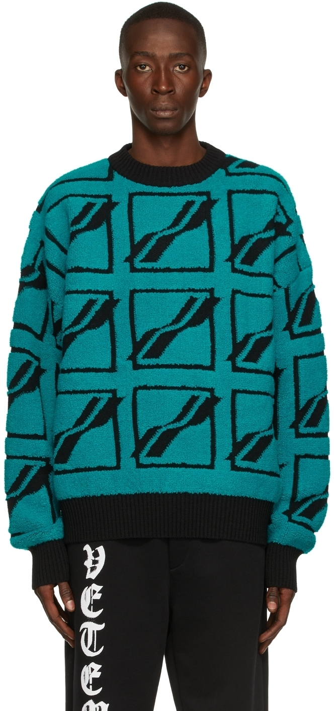 Photo: We11done Green Bouclé Logo Sweater