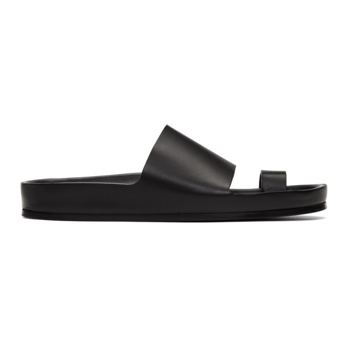 Photo: Jil Sander Black Single Toe Strap Sandals