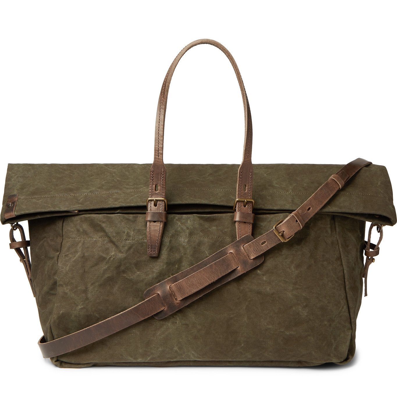 Photo: Bleu de Chauffe - Leather-Trimmed Waxed Cotton-Canvas Holdall - Green