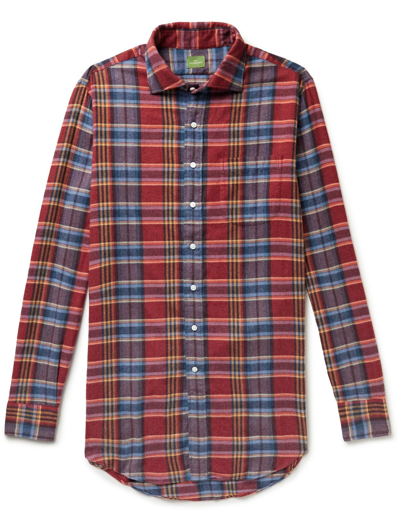 Photo: Sid Mashburn - Spread-Collar Checked Cotton-Flannel Shirt - Red