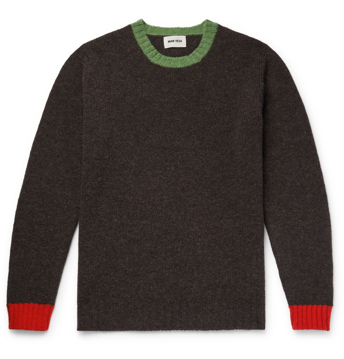 Photo: MAN 1924 - Contrast-Tipped Virgin Wool Sweater - Brown