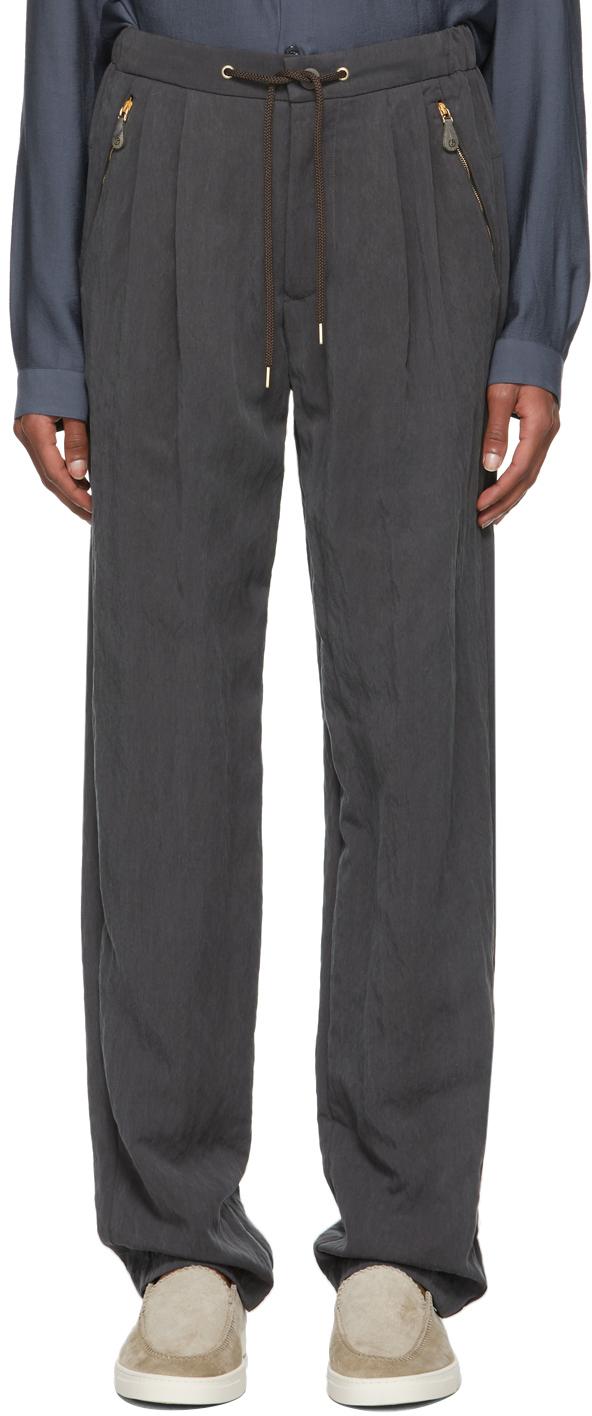Photo: Giorgio Armani Grey Satin-Effect Soft Pants