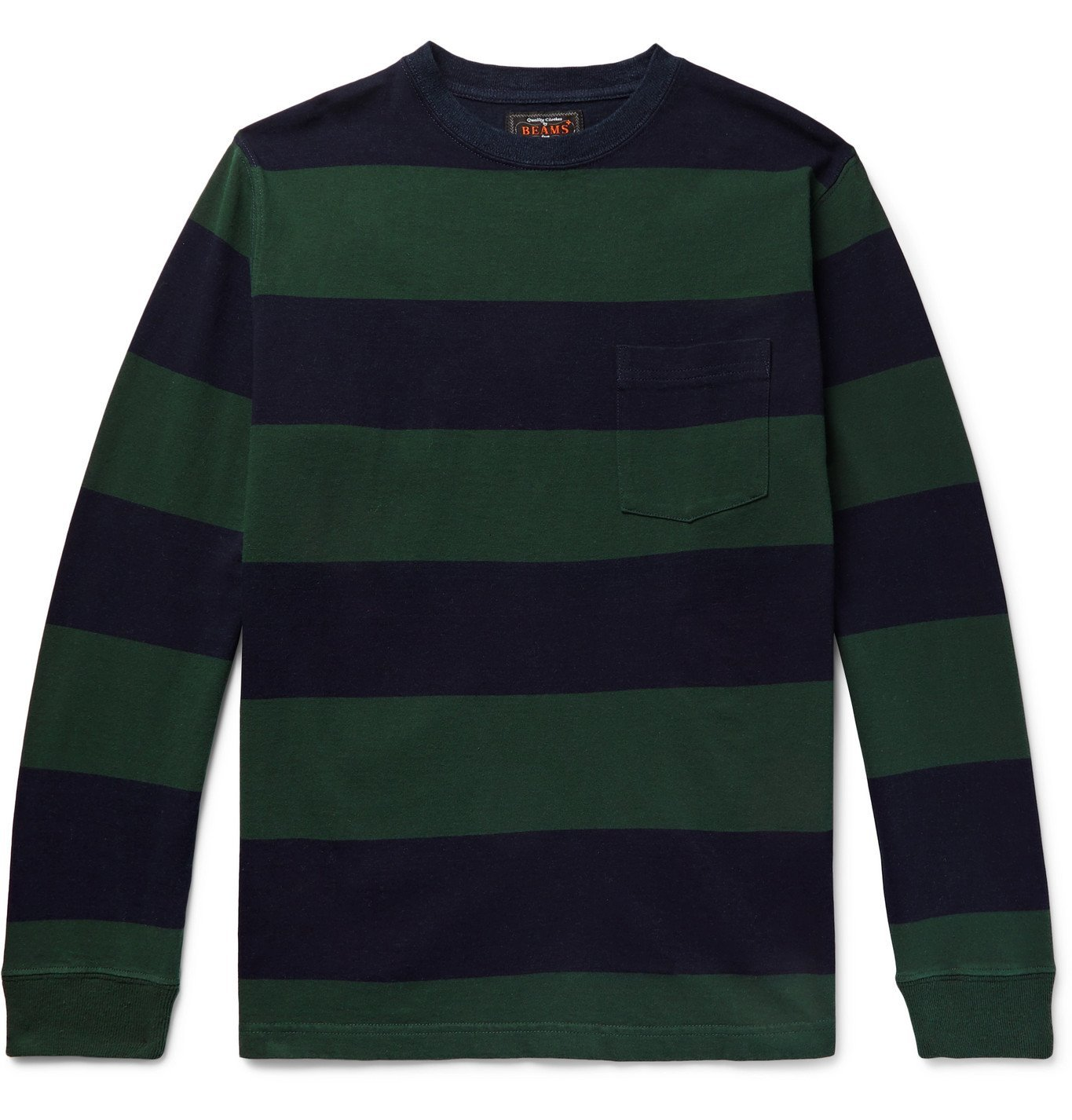 Photo: Beams Plus - Striped Cotton-Jersey T-Shirt - Green