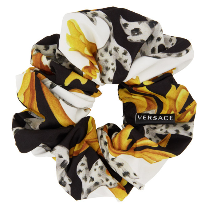 Versace White and Black Silk Barocco Scrunchie