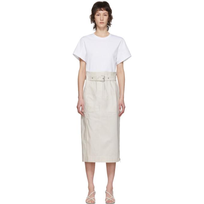 3.1 Phillip Lim White Belted Cargo T-Shirt Dress