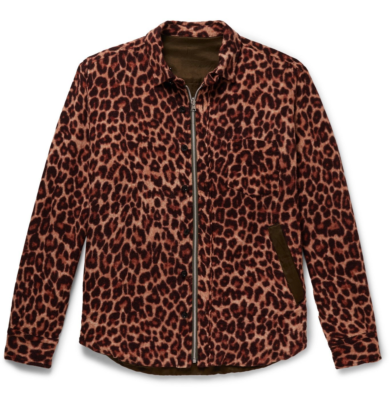 Sacai - Reversible Leopard-Print Wool and Shell Jacket - Brown