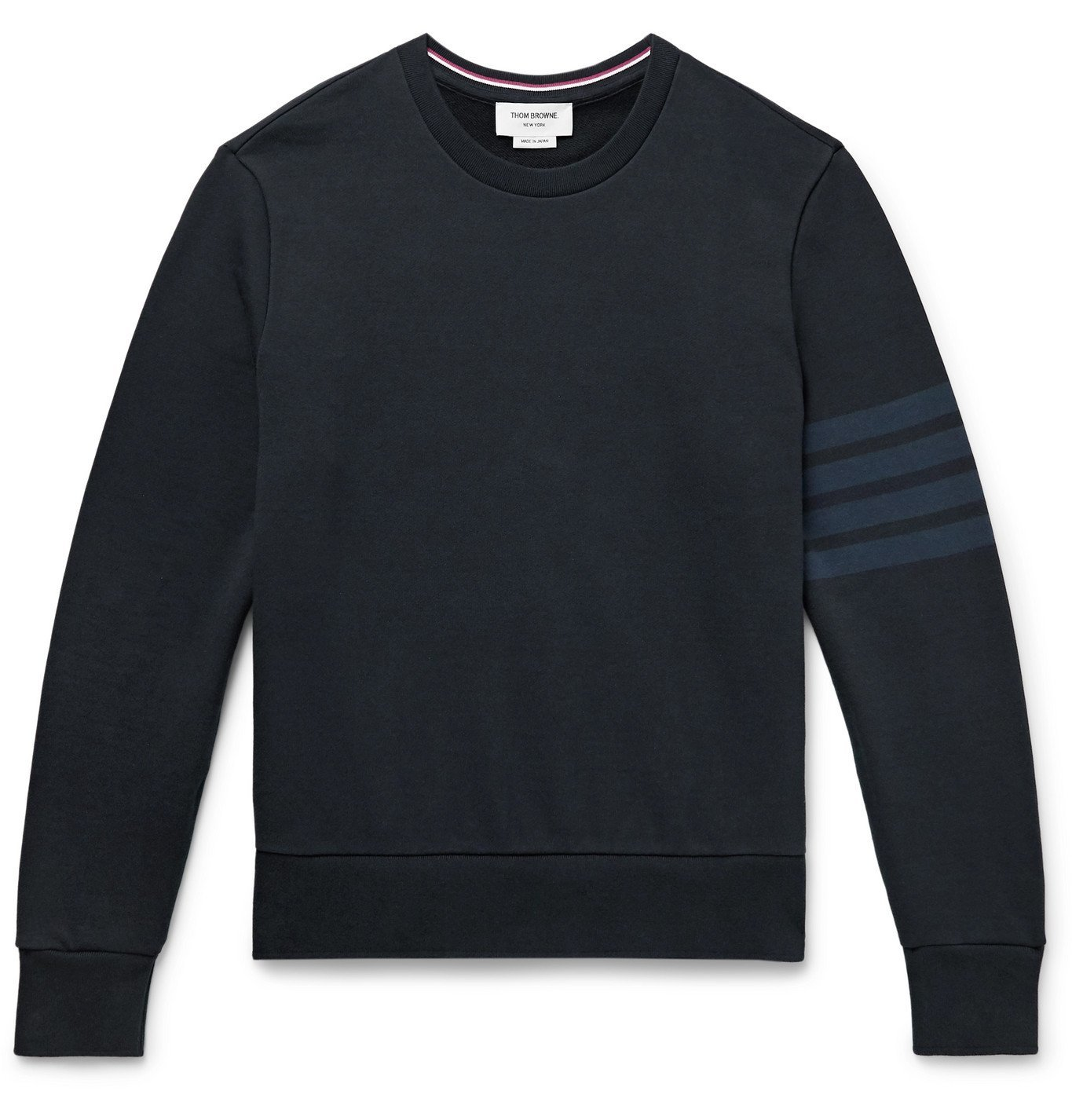 Photo: Thom Browne - Slim-Fit Striped Loopback Cotton-Jersey Sweatshirt - Blue