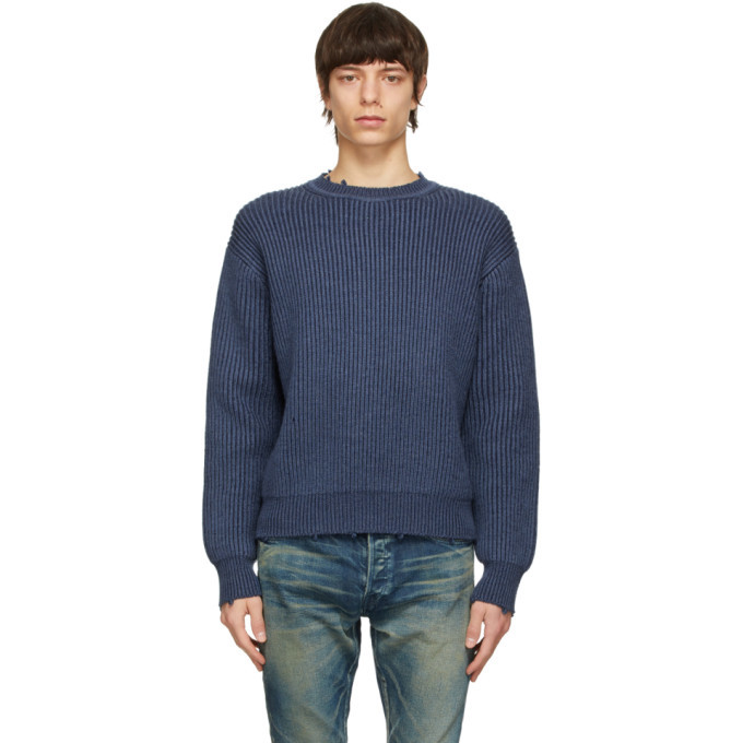 Photo: John Elliott Blue Merino Wool Structure Sweater
