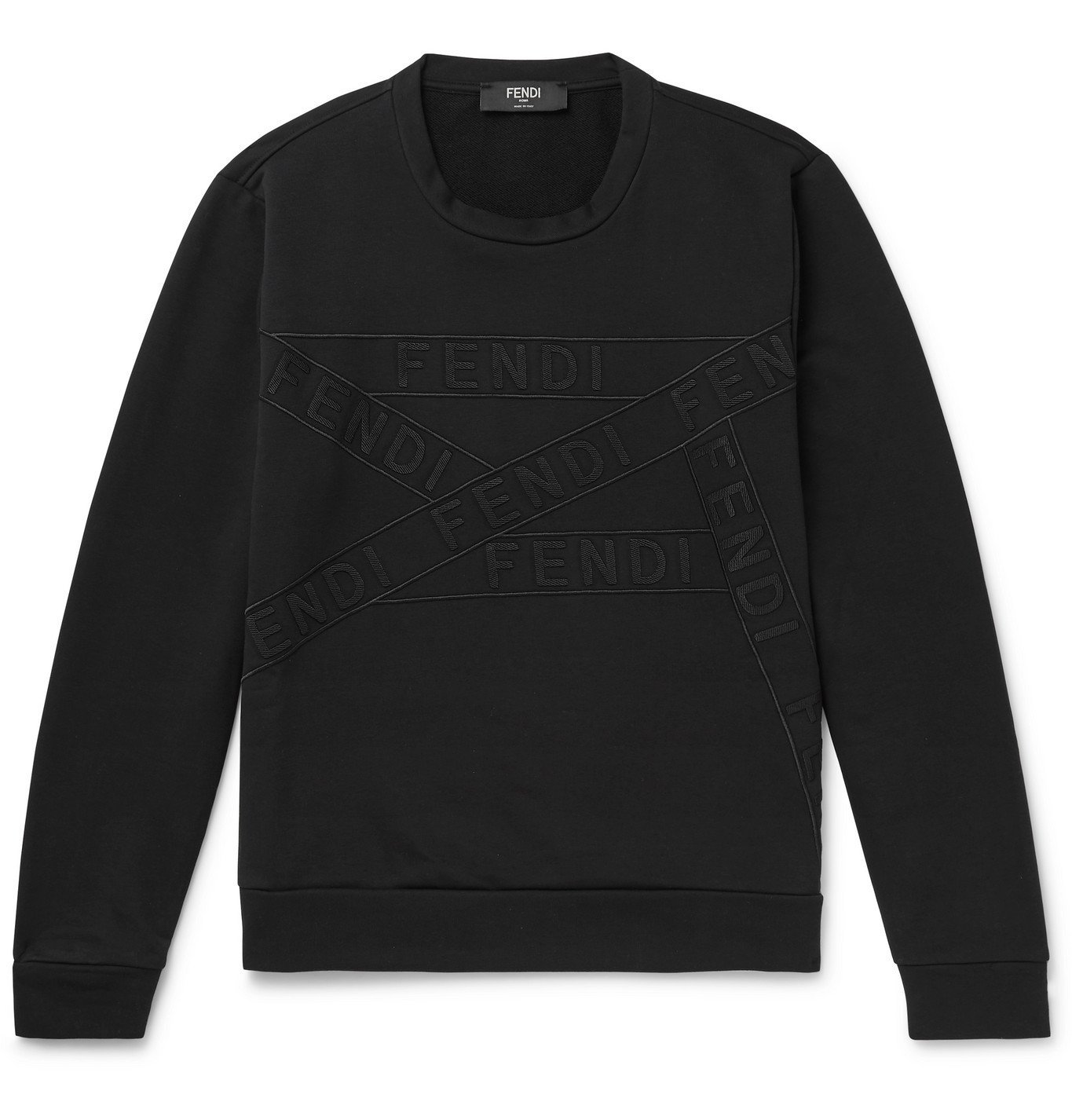 Photo: Fendi - Logo-Appliquéd Loopback Cotton-Blend Jersey Sweatshirt - Black
