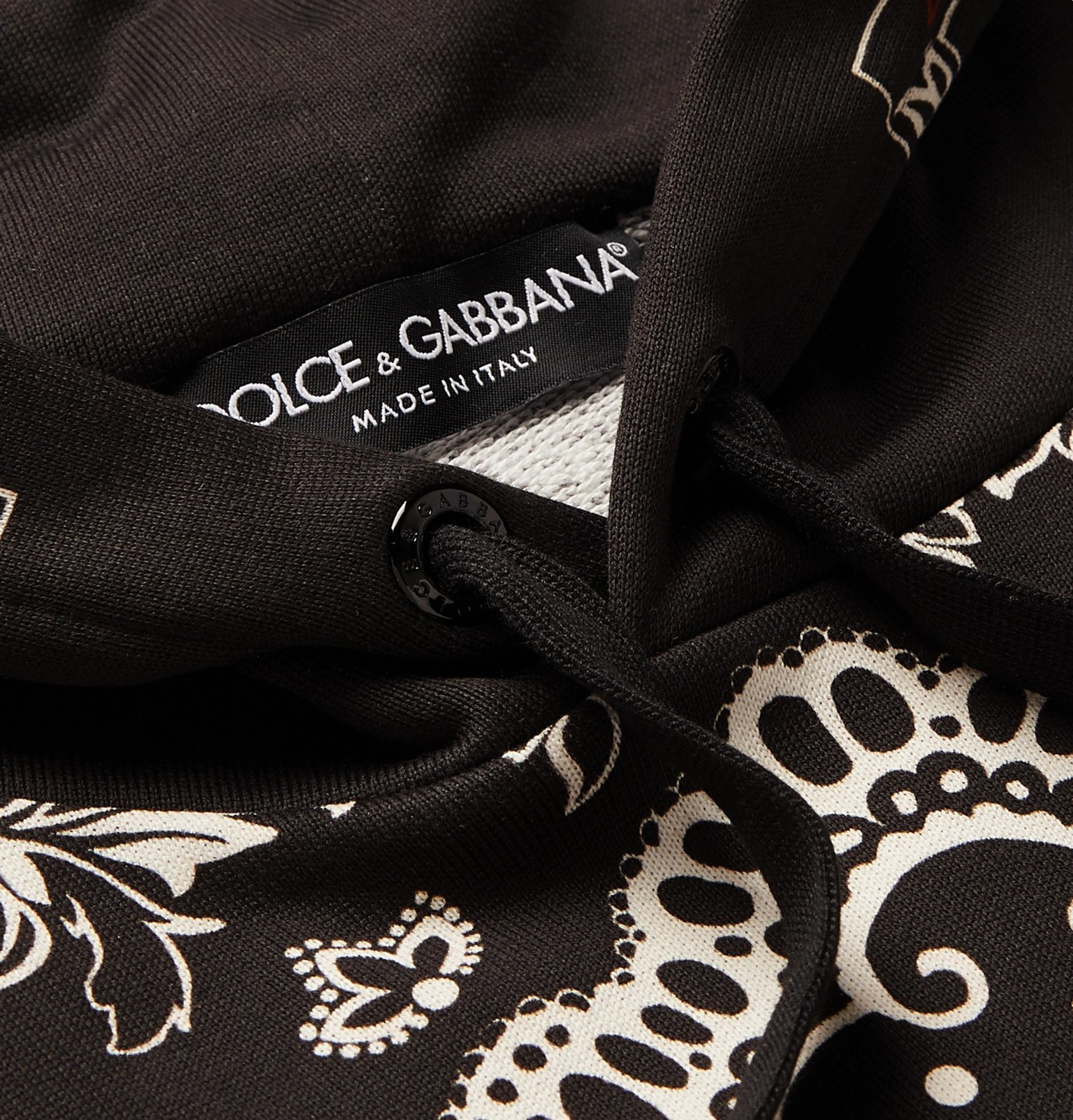Dolce & Gabbana - Printed Loopback Cotton-Blend Jersey Hoodie - Black