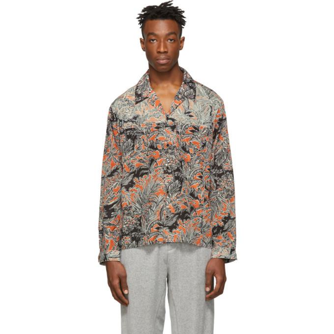 3.1 Phillip Lim Orange and Black Palm Tree Floral Souvenir Shirt