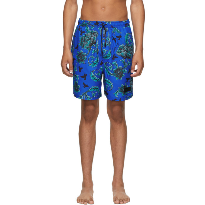 Photo: Givenchy Blue Floral Printed Long Swim Shorts
