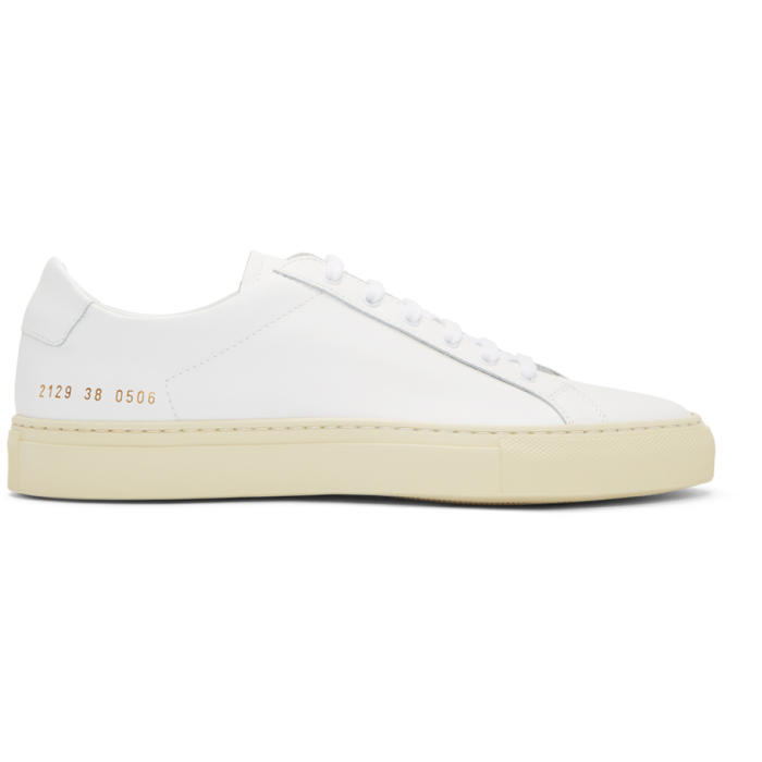 Common Projects White and Off-White Achilles Retro Low Sneakers