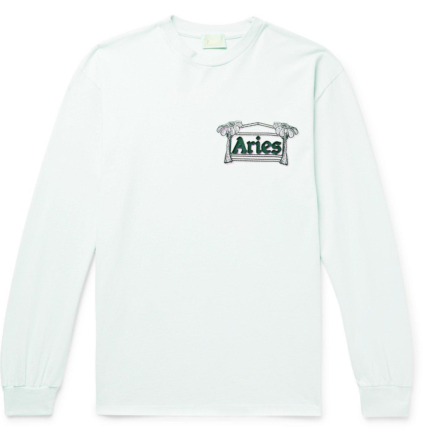 Photo: Aries - Logo-Print Cotton-Jersey T-Shirt - Green
