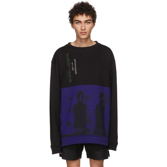 Raf Simons Black and Blue Joy Division Oversized Sweatshirt