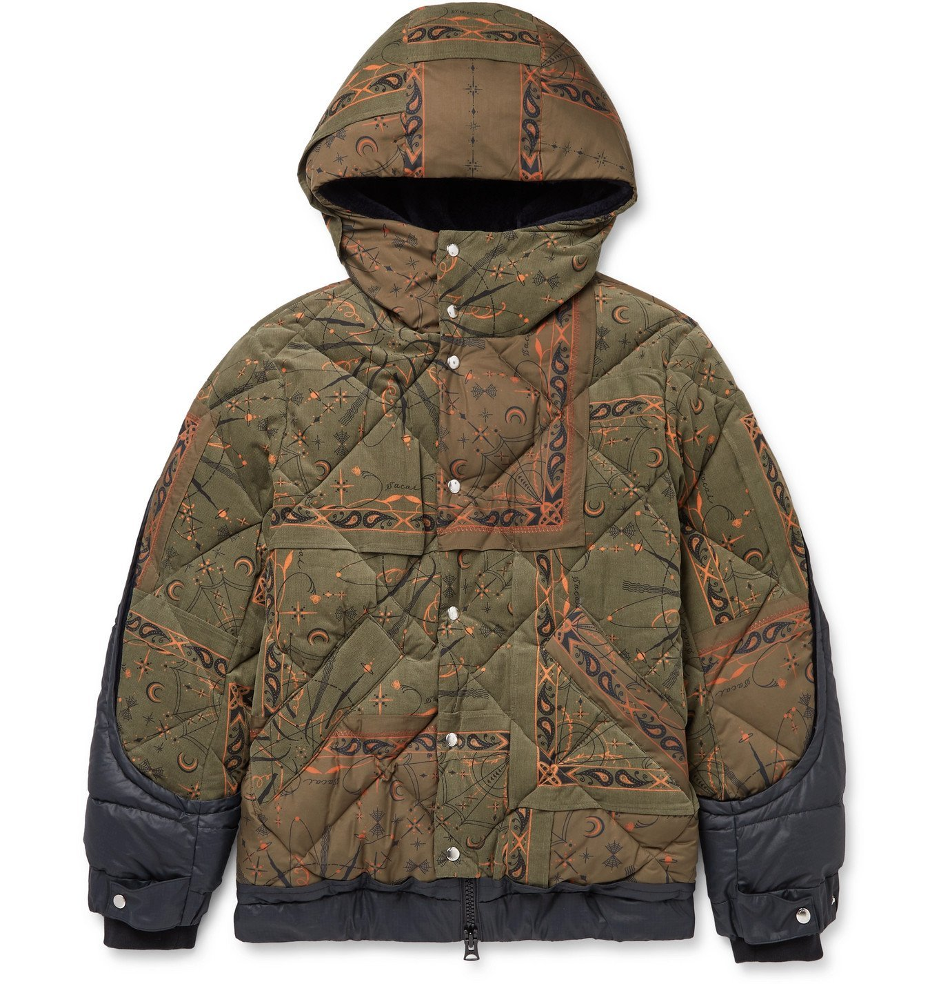Photo: Sacai - Dr. Woo Hooded Bandana-Print Quilted Cotton-Corduroy and Shell Jacket - Green