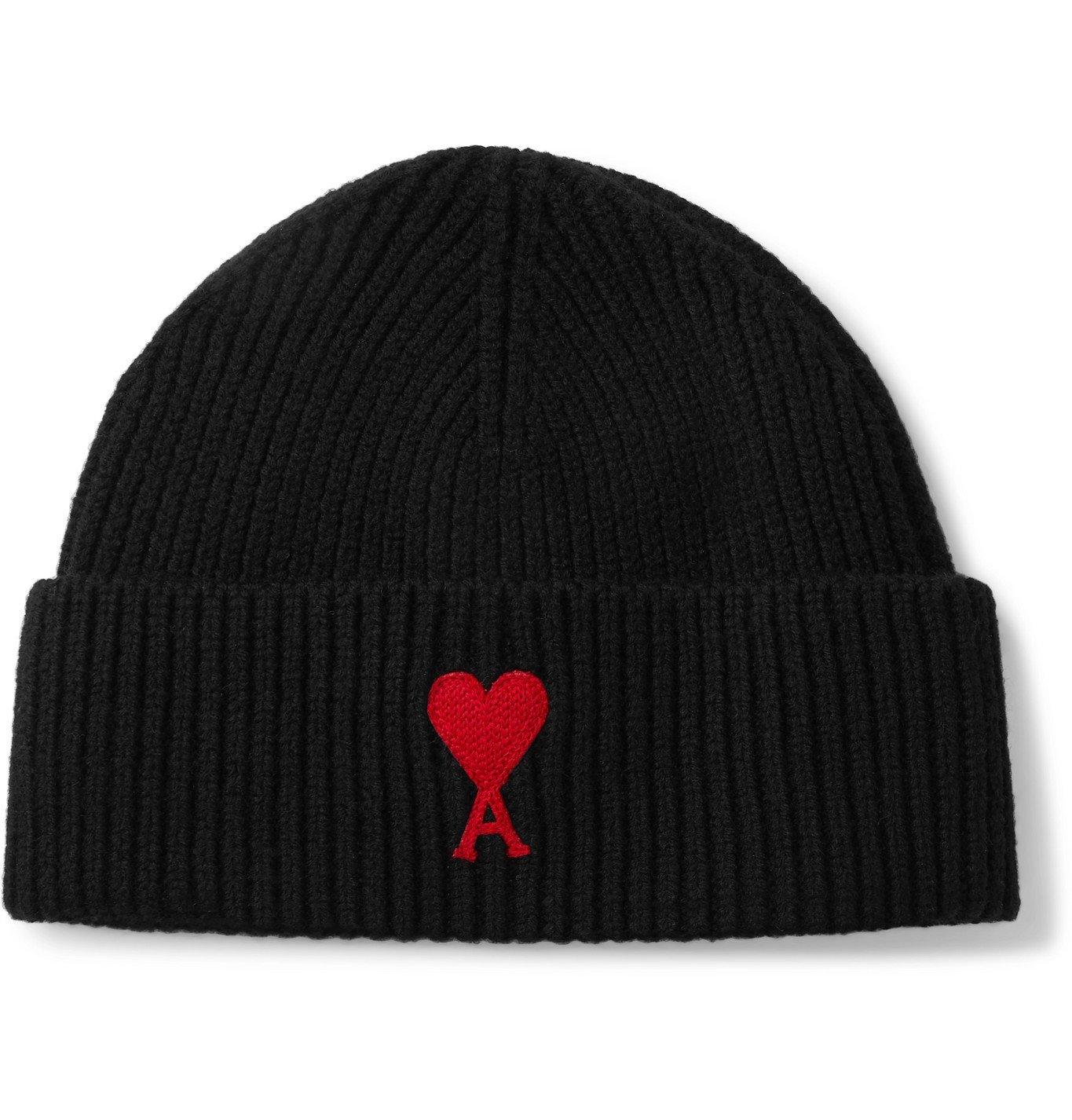 Photo: AMI PARIS - Logo-Appliquéd Ribbed Merino Wool Beanie - Black