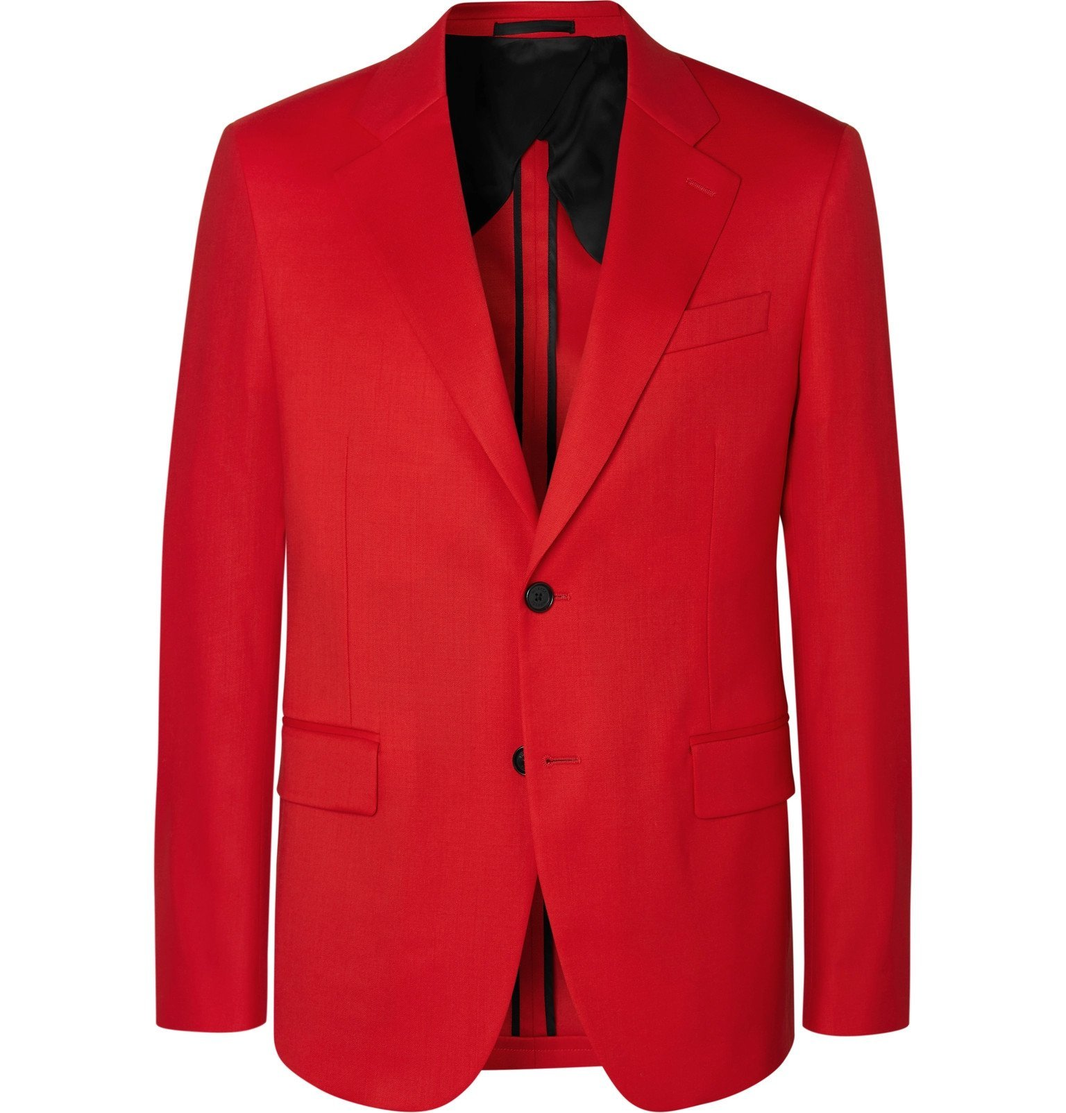 Photo: Versace - Red Slim-Fit Stretch-Wool Twill Suit Jacket - Red